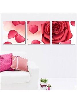 New Arrival Romantic Red Rose and Petals Print 3-piece Cross Film Wall Art Prints