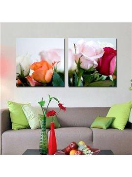 New Arrival Beautiful Lifelike Roses Print 2-piece Cross Film Wall Art Prints