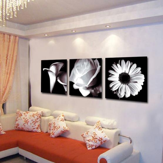 New Arrival Beautiful Grey Flowers Print 3-piece Cross Film Wall Art Prints