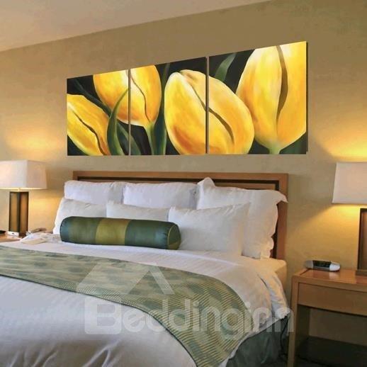 New Arrival Lovely Yellow Flower Buds Print 3-piece Cross Film Wall Art Prints