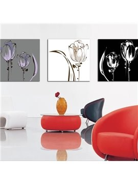 New Arrival Modern Style Abstract Flowers Print 3-piece Cross Film Wall Art Prints