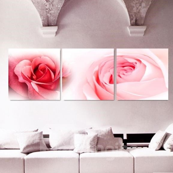 New Arrival Beautiful Pink Roses Flowers Print 3-piece Cross Film Wall Art Prints