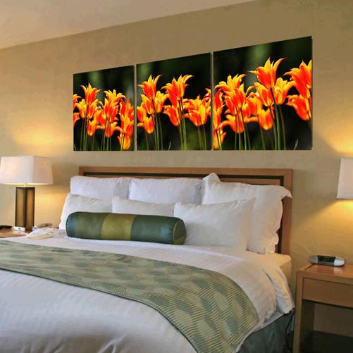 Lovely Orange Flowers Print 3-piece Cross Film Wall Art Prints