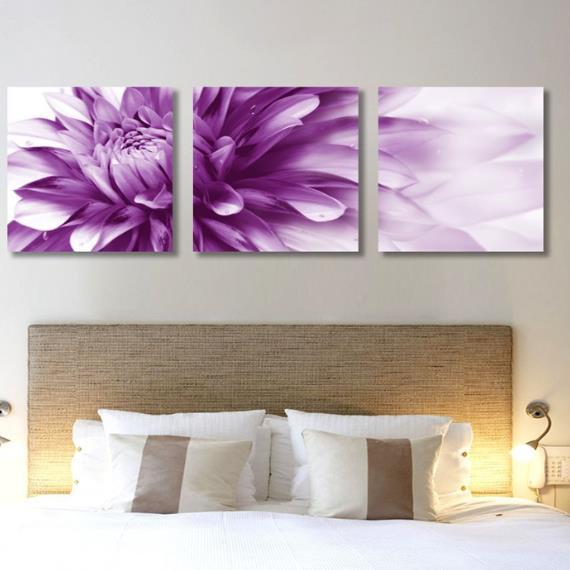 New Arrival Beautiful Purple Chrysanthemum Print 3-piece Cross Film Wall Art Prints