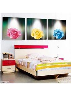 New Arrival Beautiful Colorful Roses Print 3-piece Cross Film Wall Art Prints