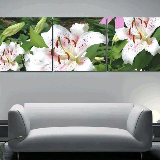 New Arrival Beautiful Lilies Print 3-piece Cross Film Wall Art Prints