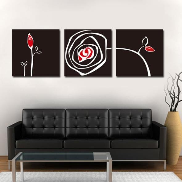 New Arrival Modern Style Black Abstract Flower Print 3-piece Cross Film Wall Art Prints