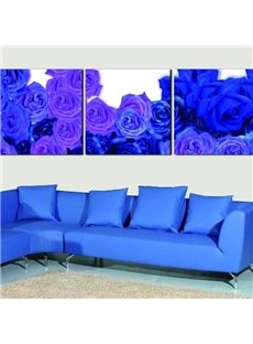 New Arrival Romantic Blue Roses Print 3-piece Cross Film Wall Art Prints