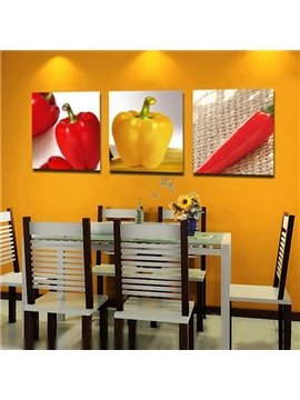 New Arrival Lovely Red Chillies Print 3-piece Cross Film Wall Art Prints