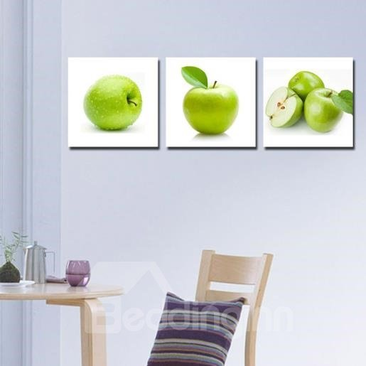 New Arrival Lovely Green Apples Print 3-piece Cross Film Wall Art Prints