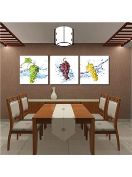 New Arrival Lovely Fresh Grapes Print 3-piece Cross Film Wall Art Prints