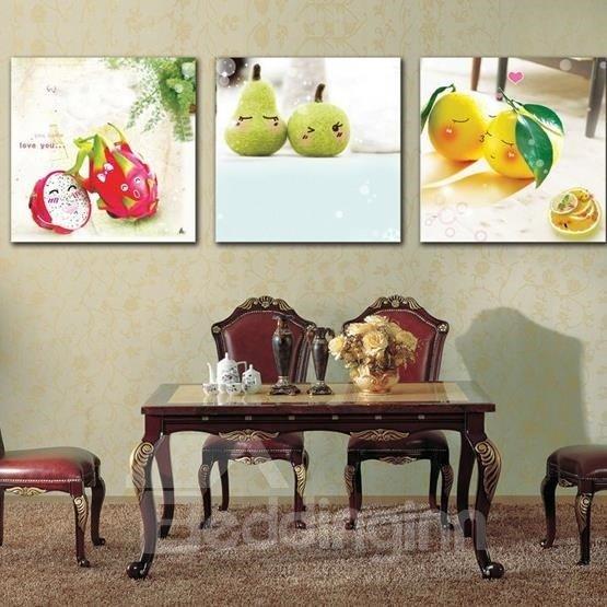 New Arrival Cute Fruits Baby Print 3-piece Cross Film Wall Art Prints