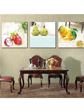 New Arrival Cute Fruits Baby Print 3-piece Cross Film Wall Art Prints