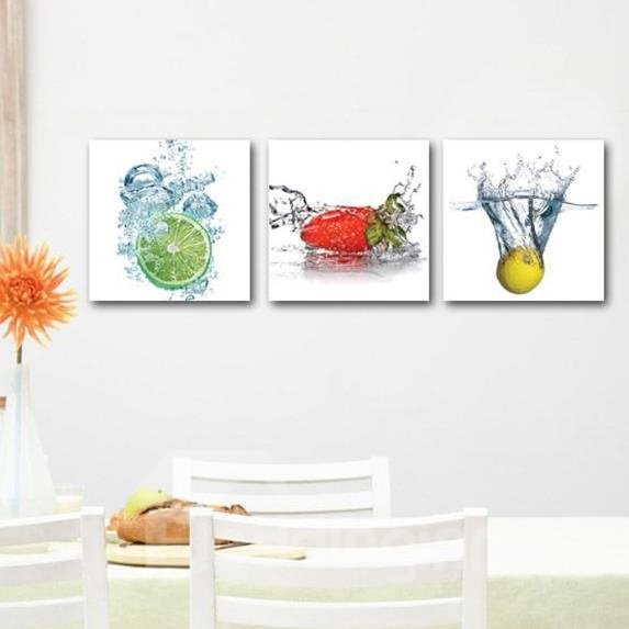 New Arrival Lovely Lemons and Strawberry in Water Print 3-piece Cross Film Wall Art Prints