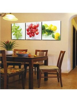 New Arrival Lovely Carambola Cherry and Lemon Print 3-piece Cross Film Wall Art Prints