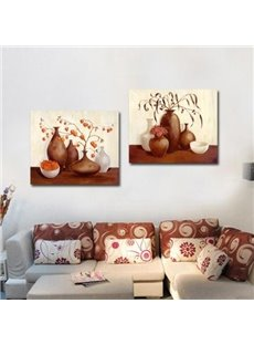 New Arrival Oil-painting Style Lovely Brown Pottery Print 2-piece Cross Film Wall Art Prints