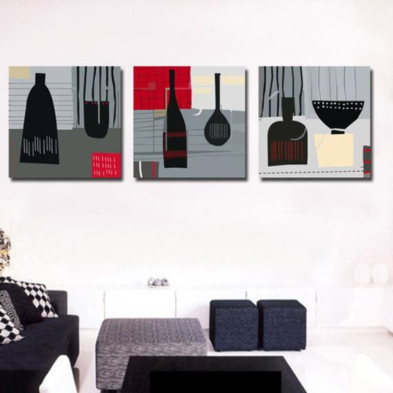 New Arrival Modern Style Abstract Figures Print 3-piece Cross Film Wall Art Prints
