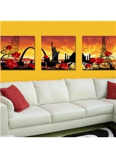 New Arrival Beautiful Red Roses and Famous Spots Print 3-piece Cross Film Wall Art Prints