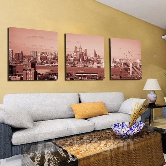 New Arrival Elegant Scenery of Metropolis Print 3-piece Cross Film Wall Art Prints