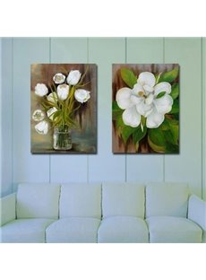 New Arrival Oil-painting Style Beautiful White Flowers Print 2-piece Cross Film Wall Art Prints