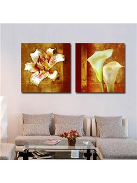 New Arrival Beautiful Lily and Calla Flowers Print 2-piece Cross Film Wall Art Prints