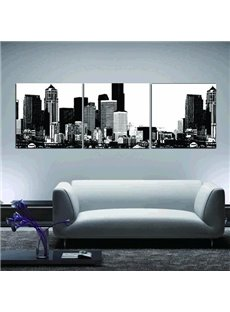 New Arrival Elegant Black and White Scenery of City Print 3-piece Cross Film Wall Art Prints
