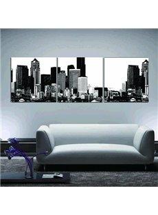 New Arrival Elegant Black and White Scenery of City Print 3-piece Cross Film Wall Art Prints
