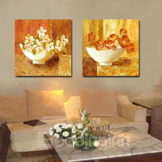 New Arrival Lovely Flowers in the Bowl Print 2-piece Cross Film Wall Art Prints