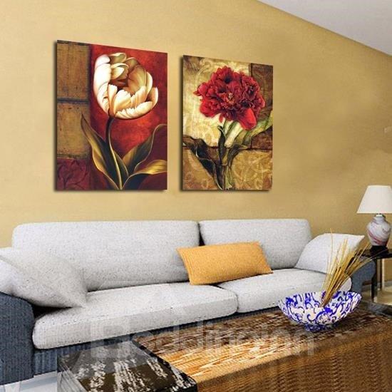 Beautiful Flowers Print 2-piece Cross Film Wall Art Prints