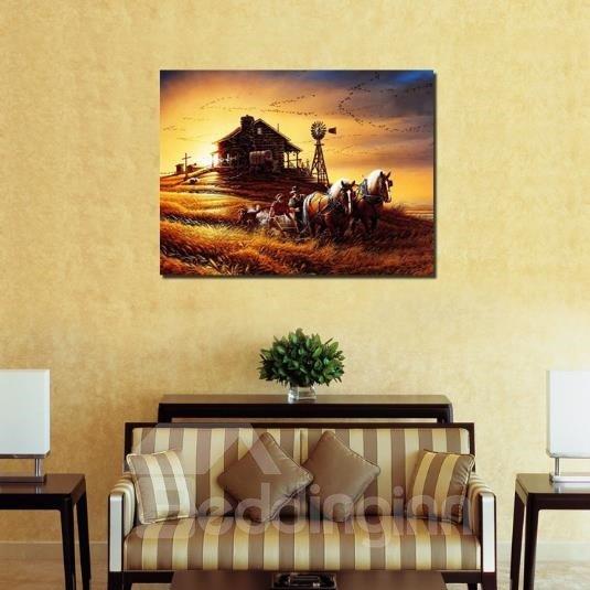 New Arrival Beautiful Farm Scenery at Dusk Print Cross Film Wall Art Prints