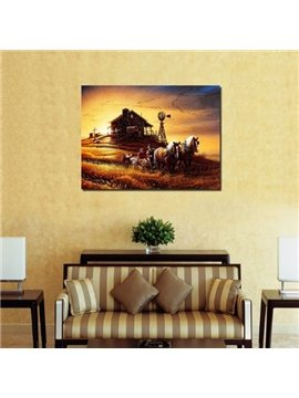 New Arrival Beautiful Farm Scenery at Dusk Print Cross Film Wall Art Prints
