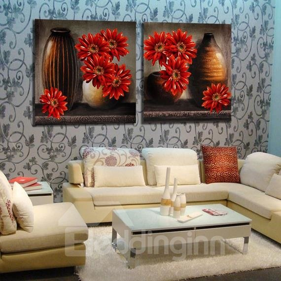 New Arrival Oil-painting Style Lovely Daisy and Pottery Print 2-piece Cross Film Wall Art Prints