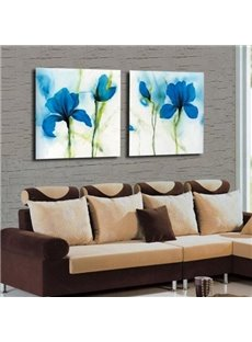 New Arrival Amazing Blue Flowers Print 2-piece Cross Film Wall Art Prints