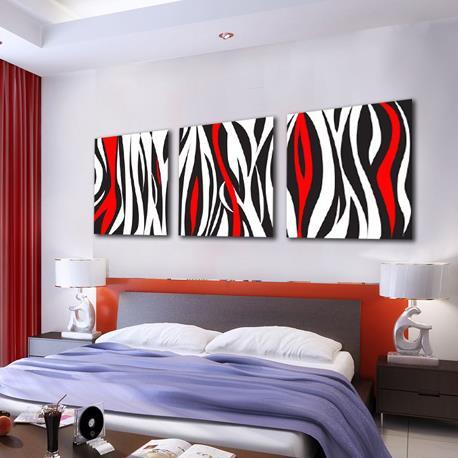 Modern Black and Red Irregular Lines Print 3-piece Cross Film Wall Art Prints