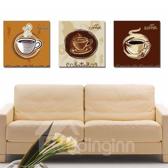 New Arrival Lovely Coffee and Letters Print 3-piece Cross Film Wall Art Prints