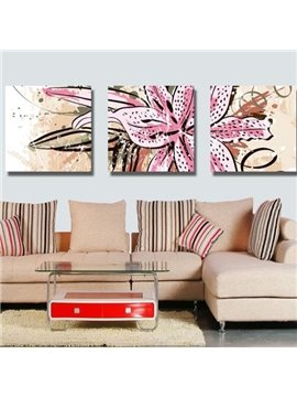 New Arrival Beautiful Big Lily Flower Print 3-piece Cross Film Wall Art Prints