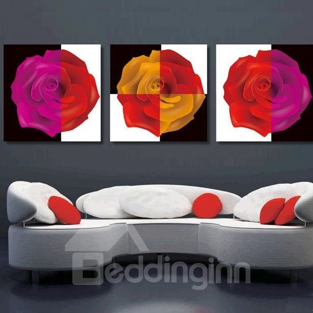 New Arrival Beautiful Roses Print 3-piece Cross Film Wall Art Prints