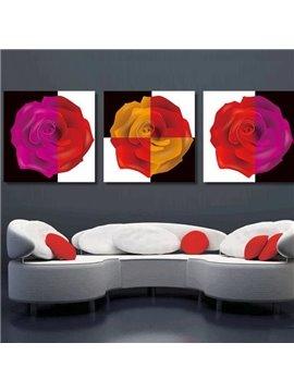 New Arrival Beautiful Roses Print 3-piece Cross Film Wall Art Prints