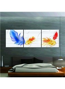 New Arrival Beautiful Colorful Feathers Print 3-piece Cross Film Wall Art Prints