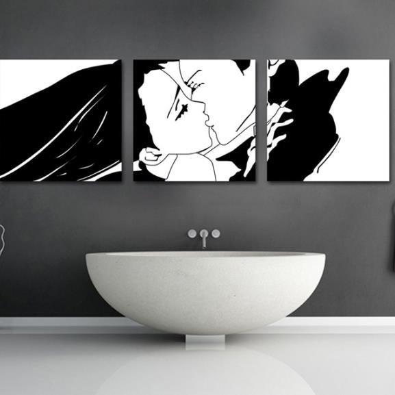 Lovely Kissing Couple Print 3-piece Cross Film Wall Art Prints