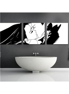 Lovely Kissing Couple Print 3-piece Cross Film Wall Art Prints