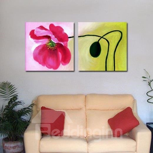 New Arrival Oil-painting Style Lovely Red Flower Print 2-piece Cross Film Wall Art Prints