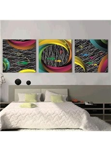New Arrival Modern Style Lovely Fish and Irregular Lines Print 3-piece Cross Film Wall Art Prints