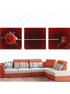 New Arrival Beautiful Red Rose Print 3-piece Cross Film Wall Art Prints