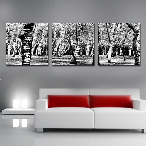 New Arrival Elegant Grey Forest Print 3-piece Cross Film Wall Art Prints