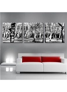 Elegant Grey Forest Print 3-piece Cross Film Wall Art Prints