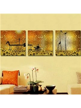 New Arrival Lovely Giraffe Print 3-piece Cross Film Wall Art Prints