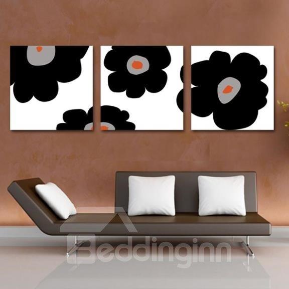 New Arrival Lovely Black Flowers Print 3-piece Cross Film Wall Art Prints