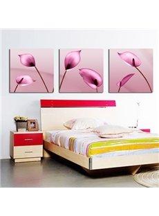 New Arrival Beautiful Pink Calla Flowers Print 3-piece Cross Film Wall Art Prints
