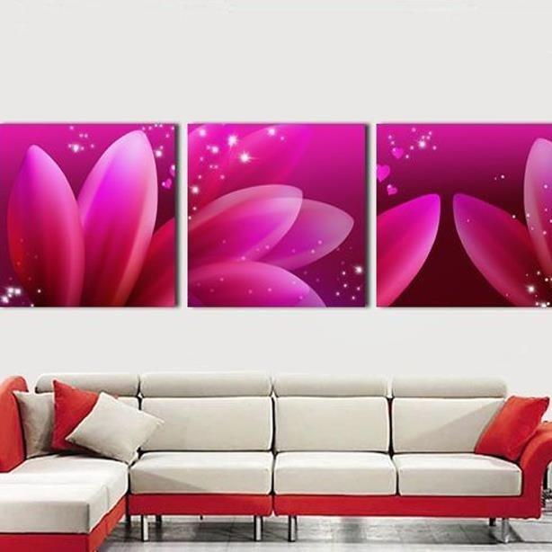 New Arrival Dreamy Pink Flower Petals Print 3-piece Cross Film Wall Art Prints
